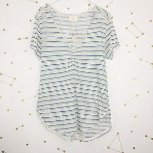 Anthro • t.la Striped Button Shoulder Tee Shirt